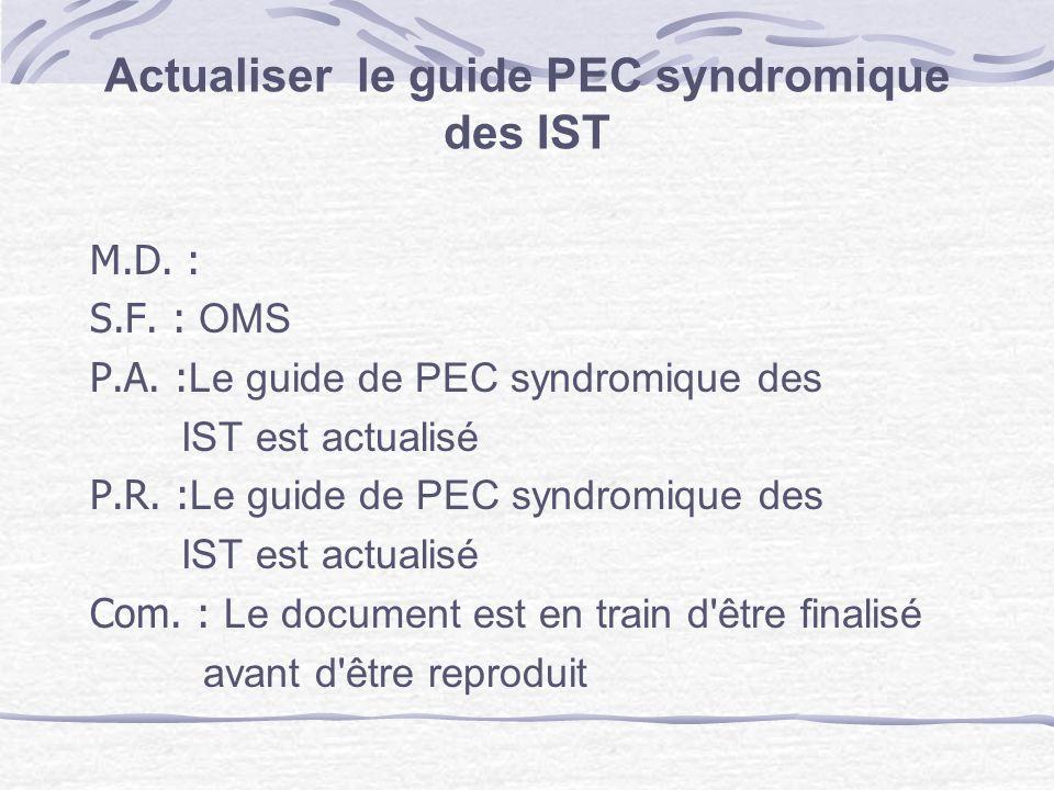 Actualiser le guide PEC syndromique des IST