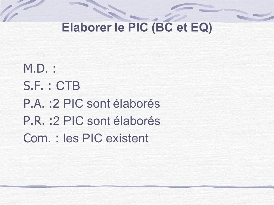 Elaborer le PIC (BC et EQ)
