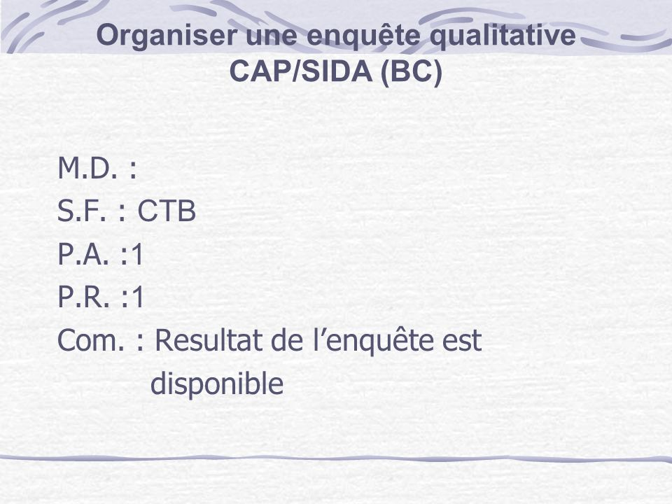 Organiser une enquête qualitative CAP/SIDA (BC)