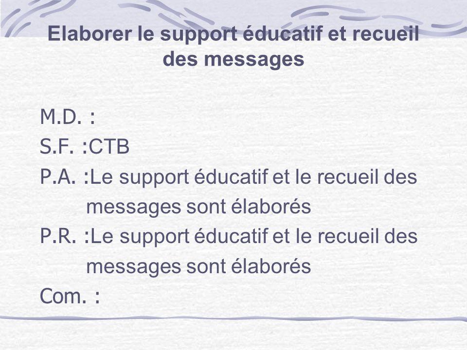 Elaborer le support éducatif et recueil des messages