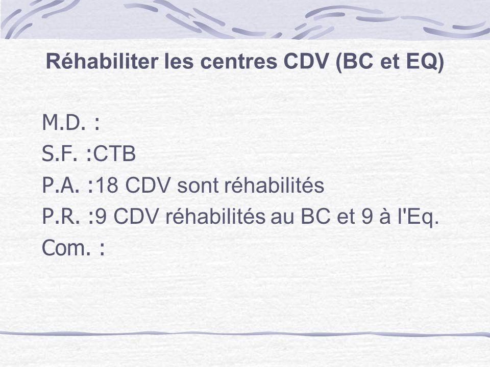 Réhabiliter les centres CDV (BC et EQ)