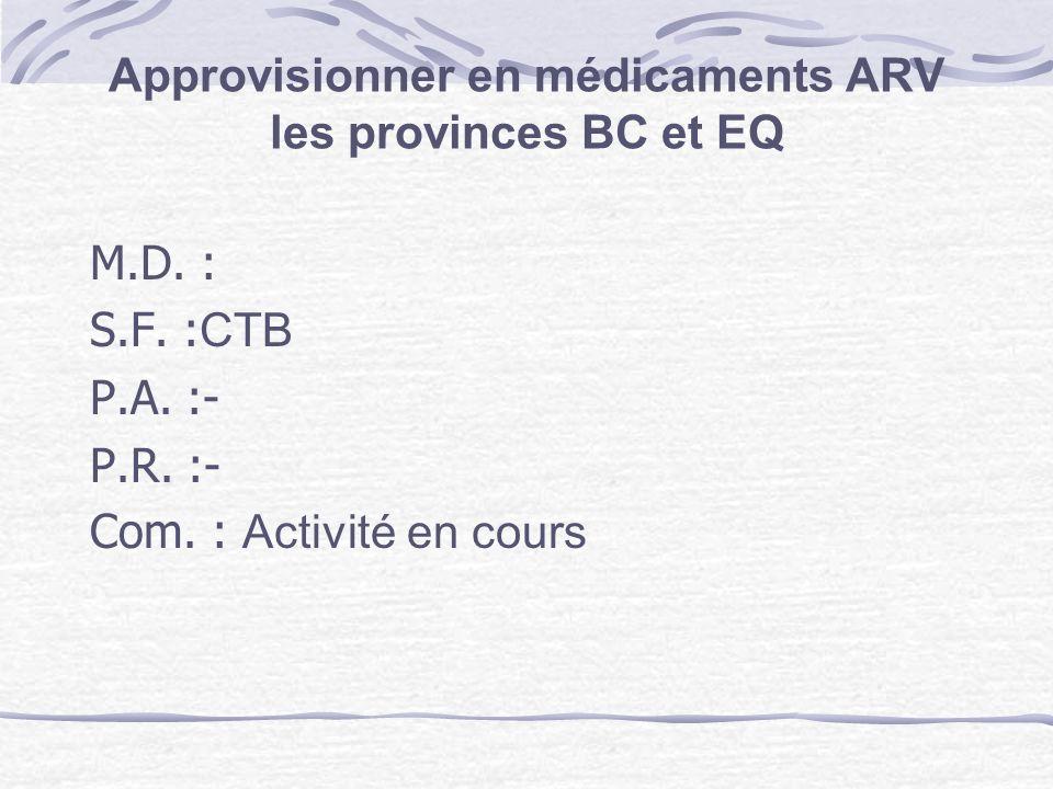 Approvisionner en médicaments ARV les provinces BC et EQ