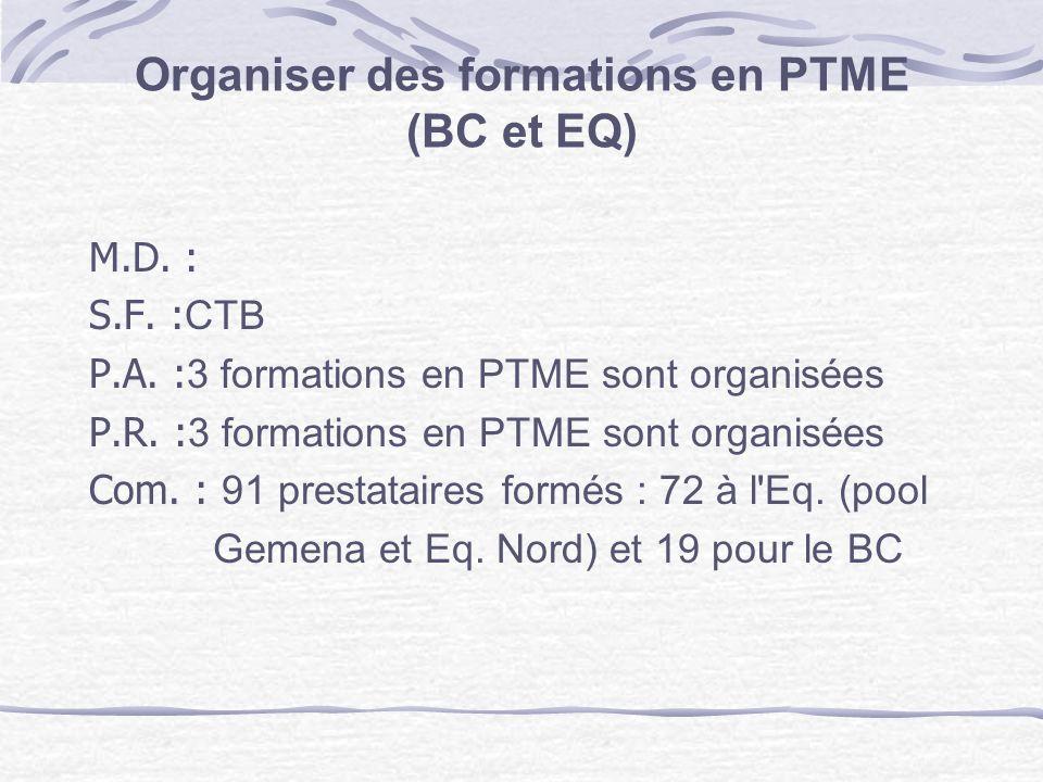 Organiser des formations en PTME (BC et EQ)