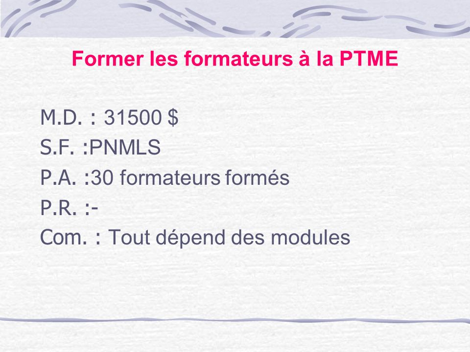 Former les formateurs à la PTME
