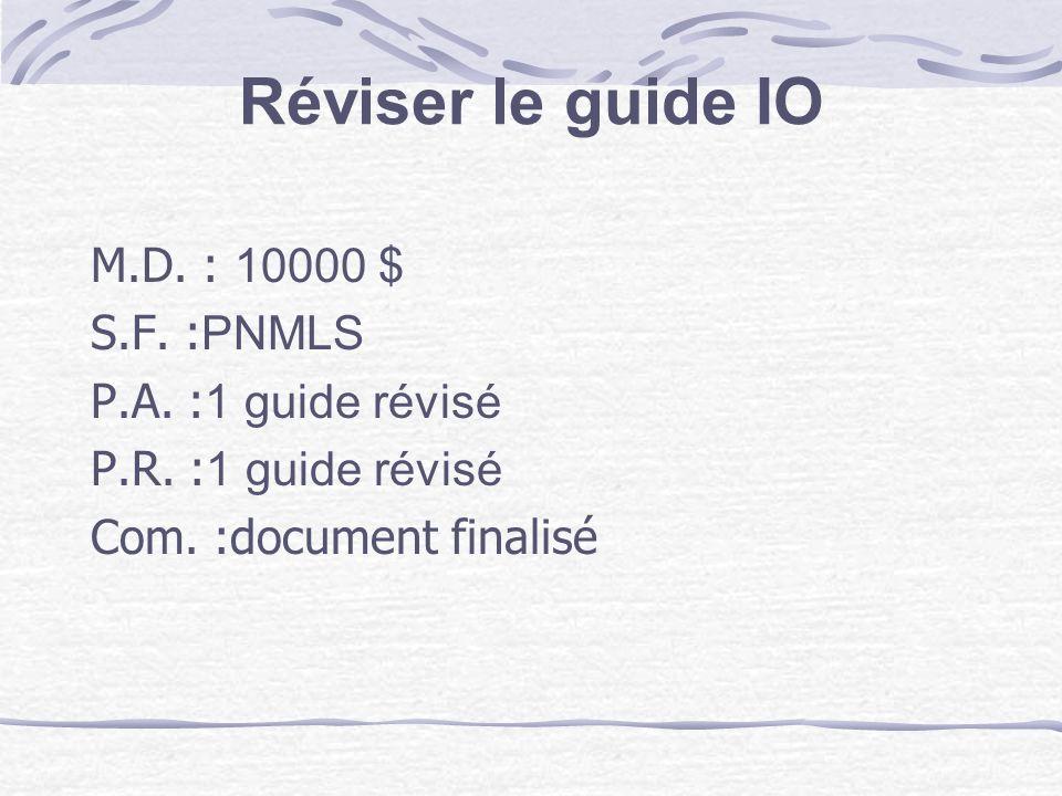 Réviser le guide IO M.D. : 10000 $ S.F. :PNMLS P.A. :1 guide révisé