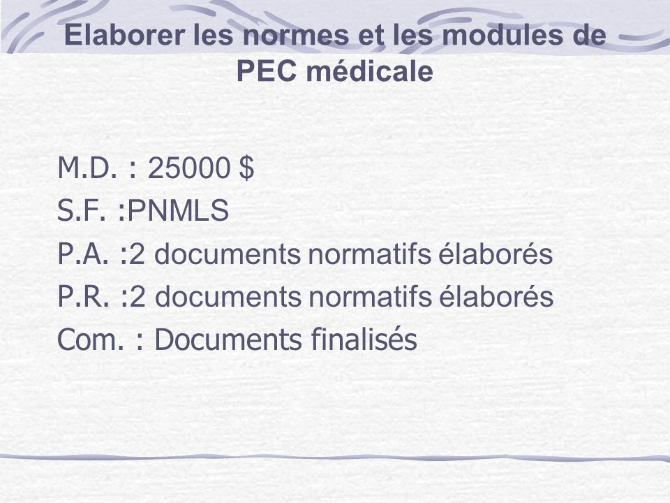 Elaborer les normes et les modules de PEC médicale
