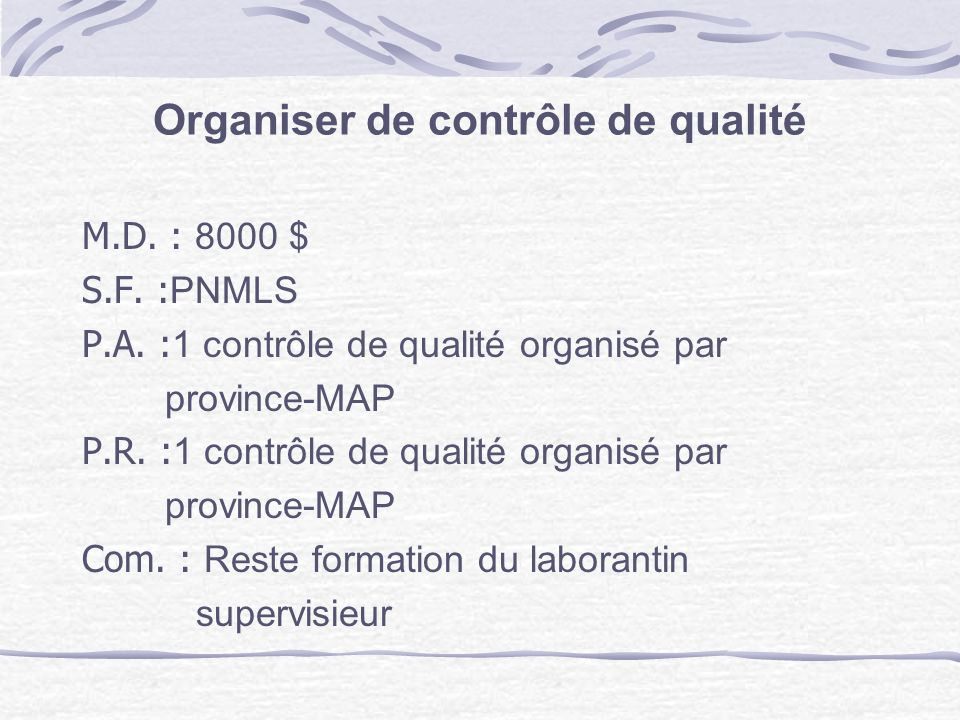 Organiser de contrôle de qualité