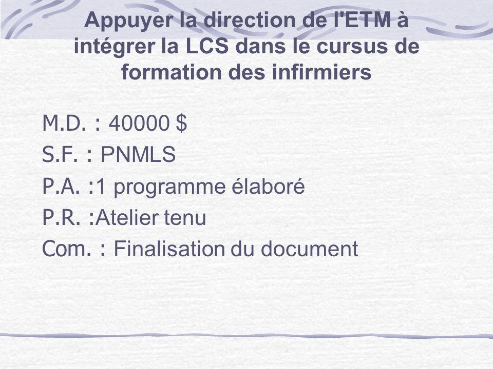 M.D. : 40000 $ S.F. : PNMLS. P.A. :1 programme élaboré. P.R. :Atelier tenu. Com. : Finalisation du document.