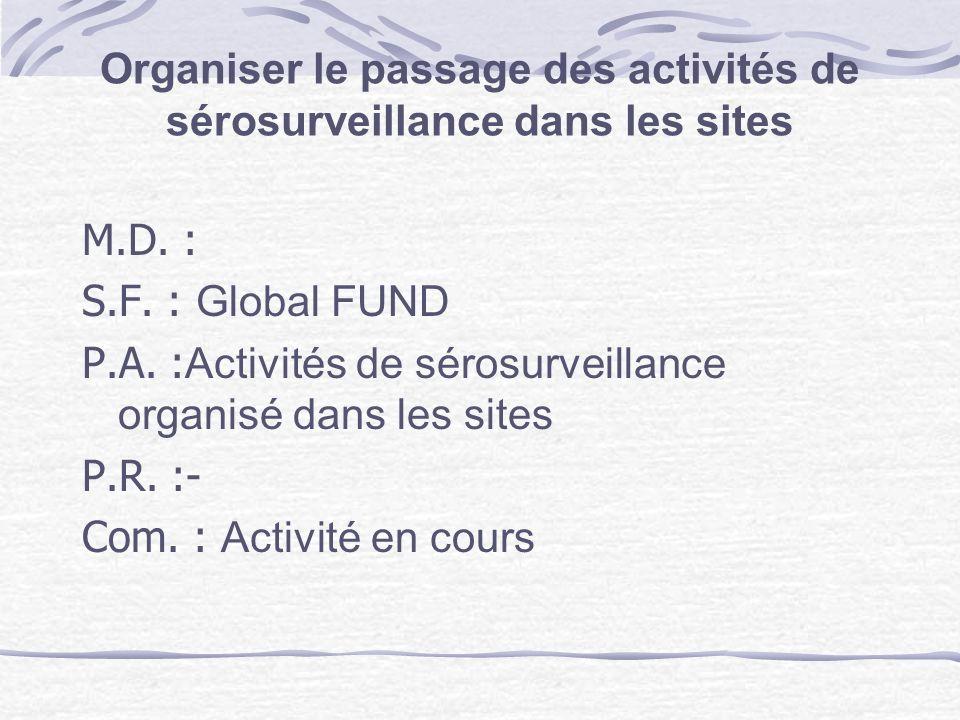 Organiser le passage des activités de sérosurveillance dans les sites