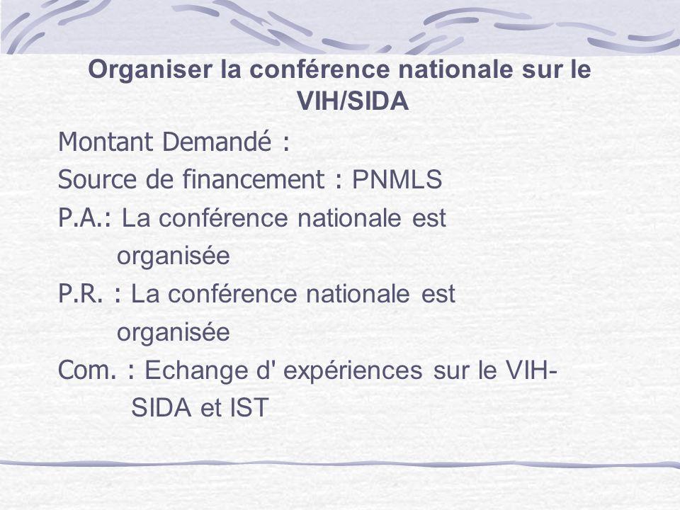 Organiser la conférence nationale sur le VIH/SIDA