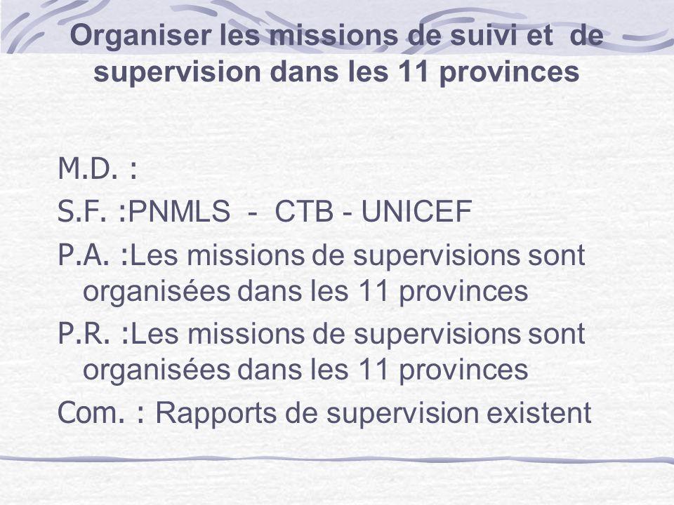 Organiser les missions de suivi et de supervision dans les 11 provinces