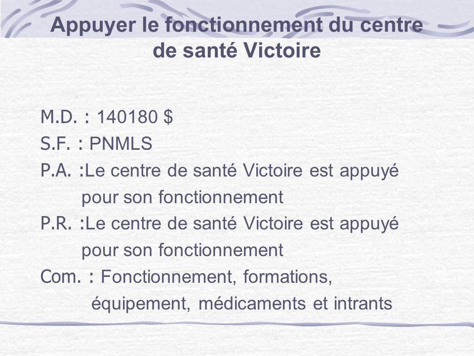 Appuyer le fonctionnement du centre de santé Victoire