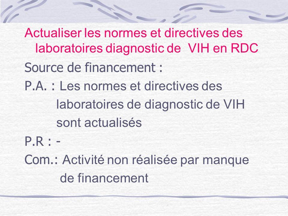Actualiser les normes et directives des laboratoires diagnostic de VIH en RDC