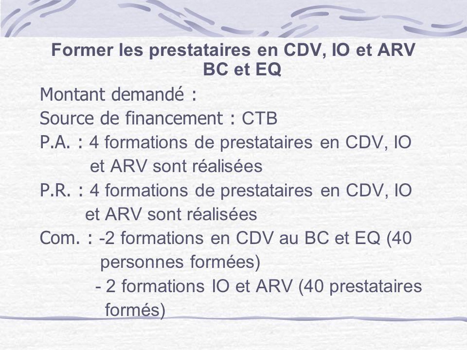 Former les prestataires en CDV, IO et ARV BC et EQ