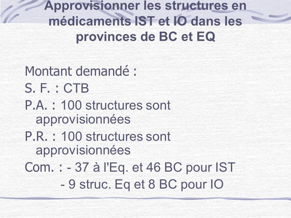Approvisionner les structures en médicaments IST et IO dans les provinces de BC et EQ