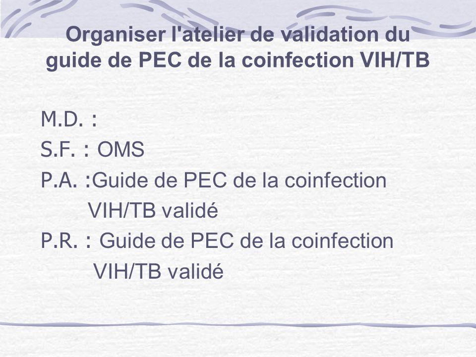 Organiser l atelier de validation du guide de PEC de la coinfection VIH/TB