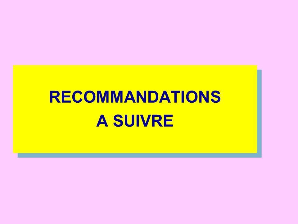 RECOMMANDATIONS A SUIVRE