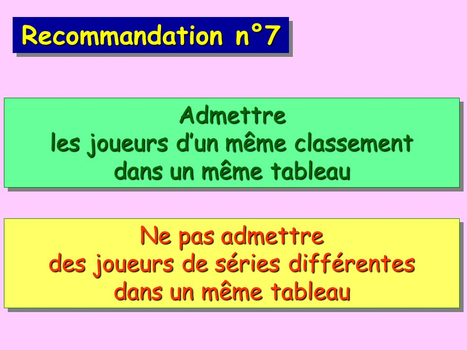 Recommandation n°7