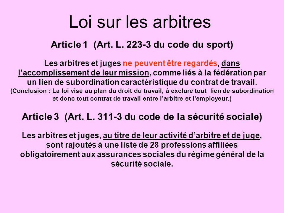 Loi sur les arbitres Article 1 (Art. L. 223-3 du code du sport)
