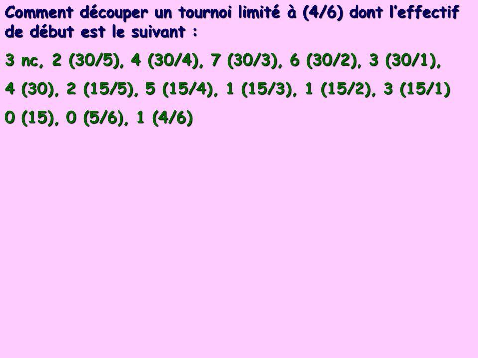 Comment découper un tournoi limité à (4/6) dont l'effectif de début est le suivant :