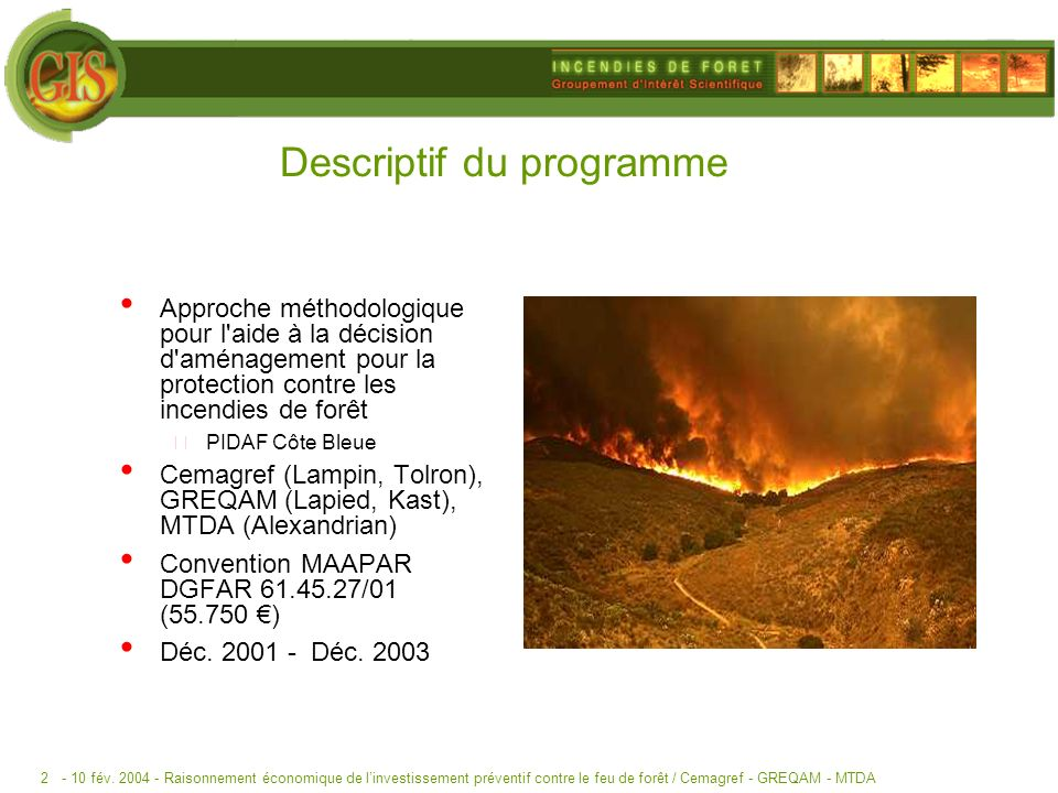 Descriptif du programme