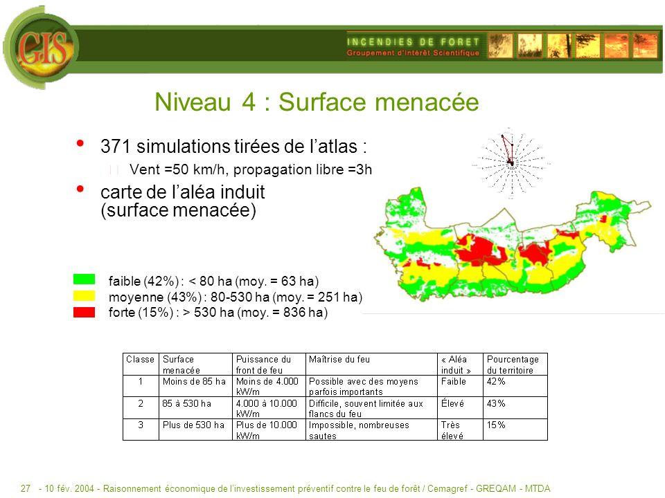 Niveau 4 : Surface menacée