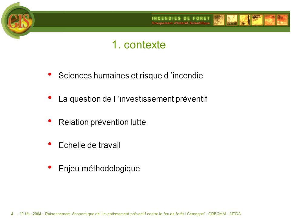 1. contexte Sciences humaines et risque d 'incendie