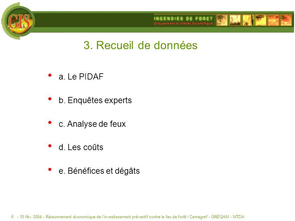 3. Recueil de données a. Le PIDAF b. Enquêtes experts
