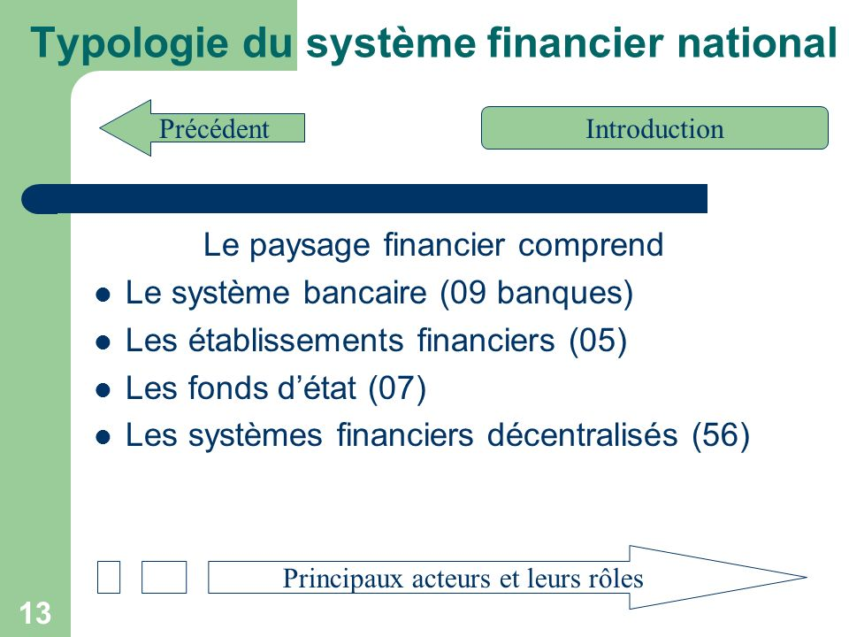 Typologie du système financier national