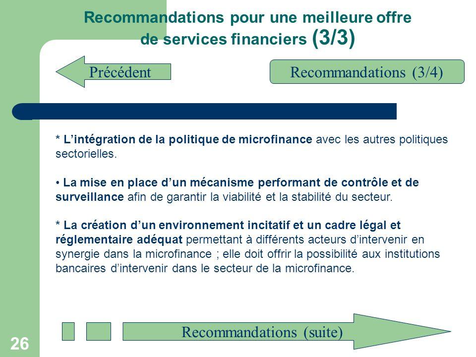 Recommandations pour une meilleure offre de services financiers (3/3)
