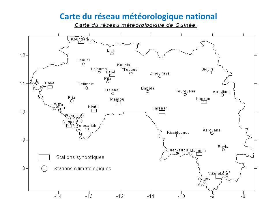 Carte du réseau météorologique national