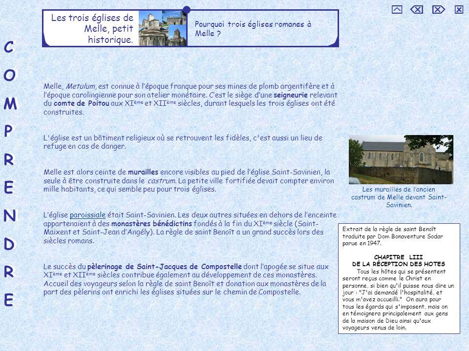 C O M P R E N D     Les trois églises de Melle, petit historique.