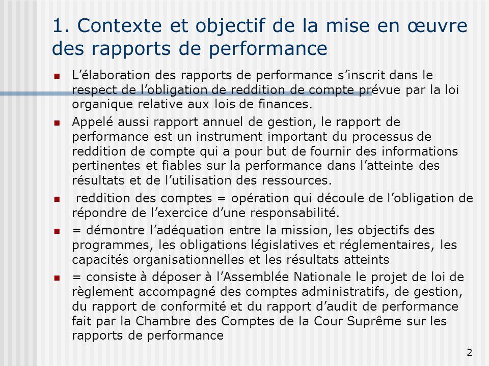 1. Contexte et objectif de la mise en œuvre des rapports de performance