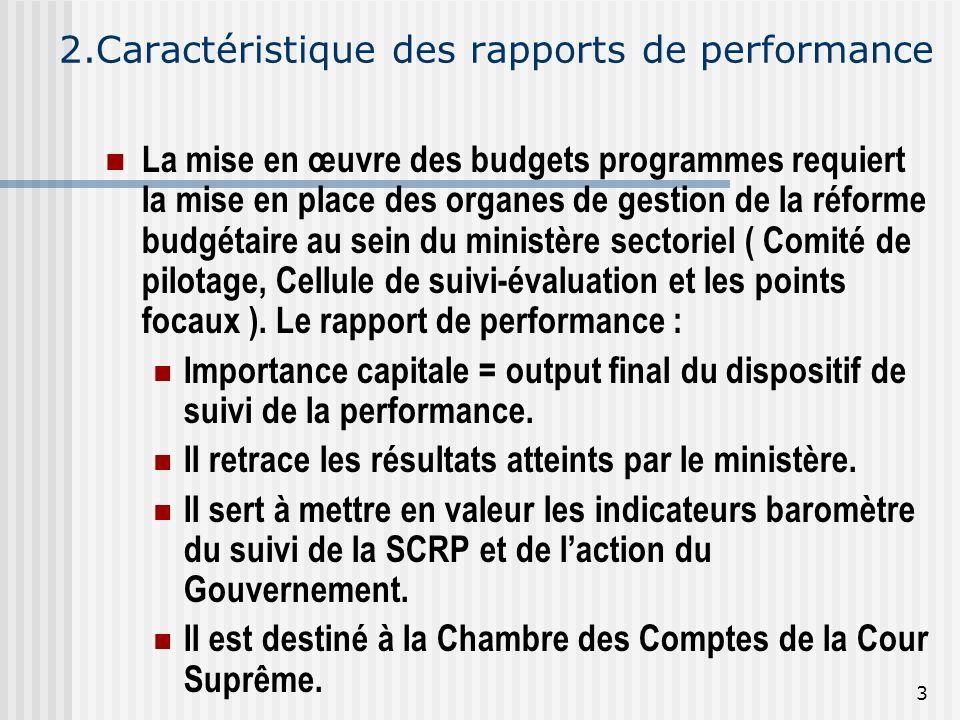 2.Caractéristique des rapports de performance