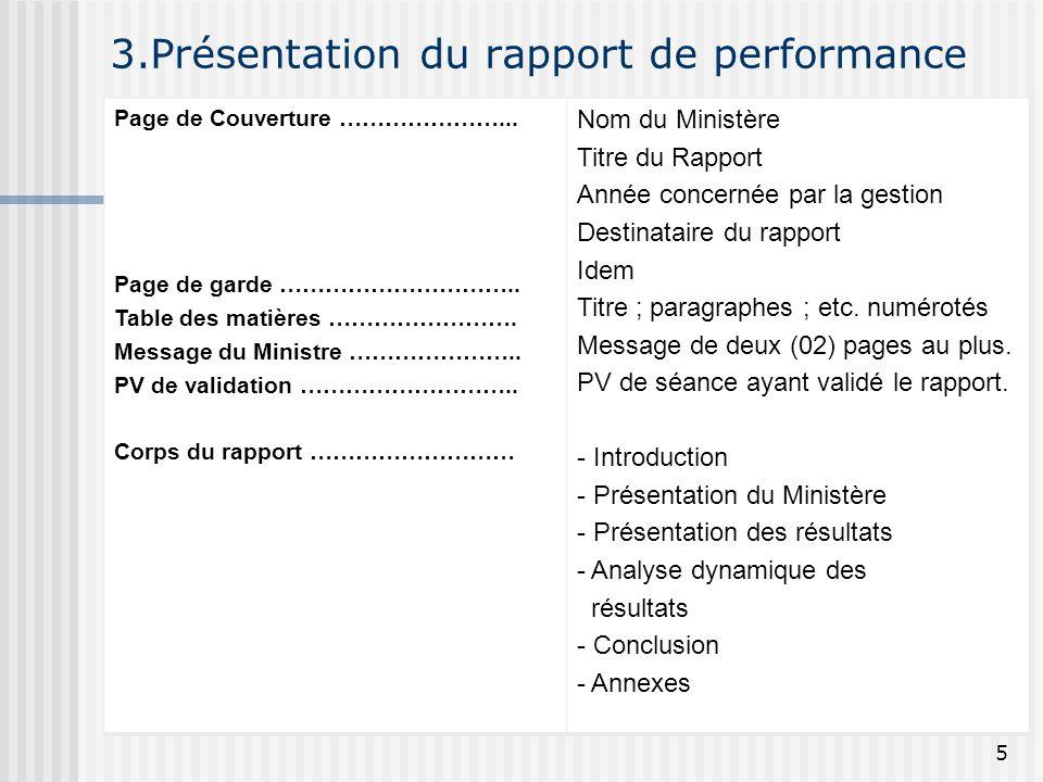 3.Présentation du rapport de performance