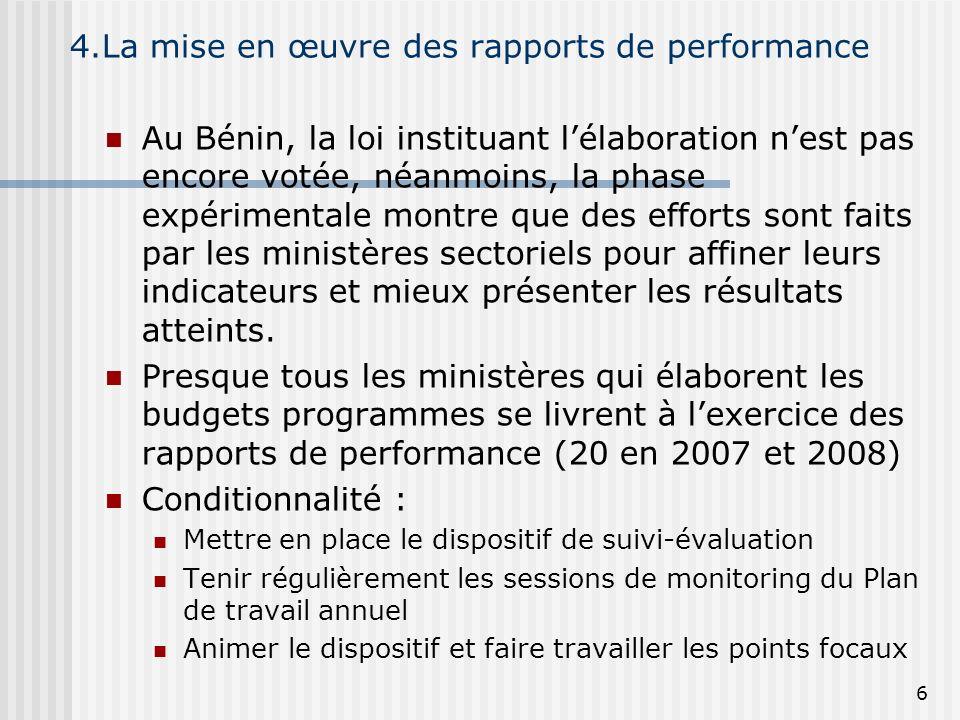 4.La mise en œuvre des rapports de performance
