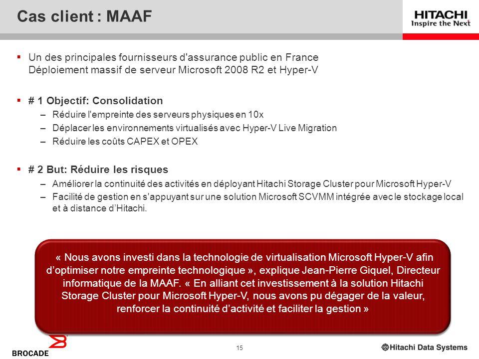 4/2/2017 Cas client : MAAF. Un des principales fournisseurs d assurance public en France Déploiement massif de serveur Microsoft 2008 R2 et Hyper-V.