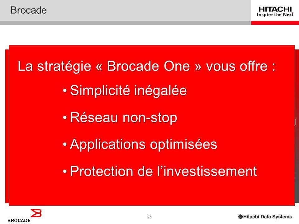 La stratégie « Brocade One » vous offre : Simplicité inégalée
