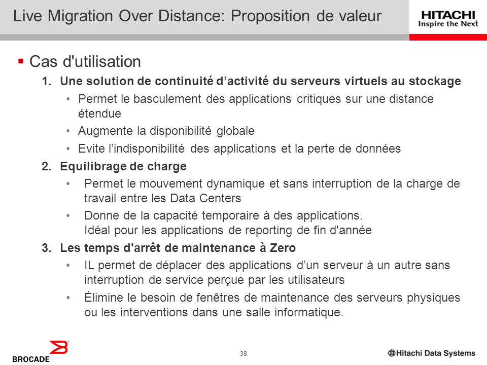 Live Migration Over Distance: Proposition de valeur