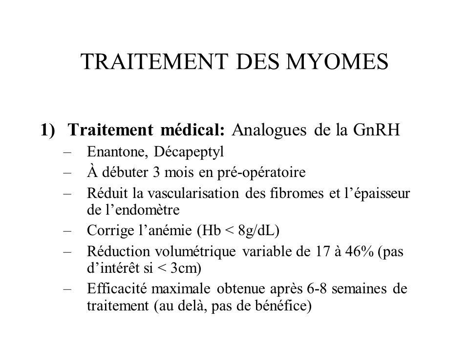 TRAITEMENT DES MYOMES Traitement médical: Analogues de la GnRH