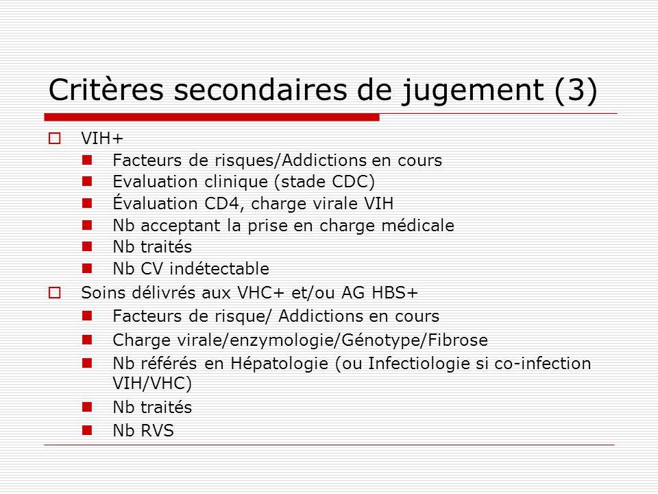 Critères secondaires de jugement (3)