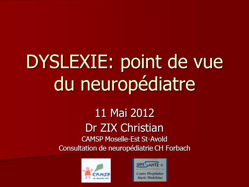 DYSLEXIE: point de vue du neuropédiatre