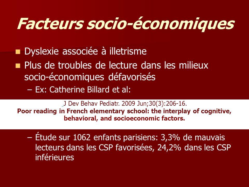 Facteurs socio-économiques
