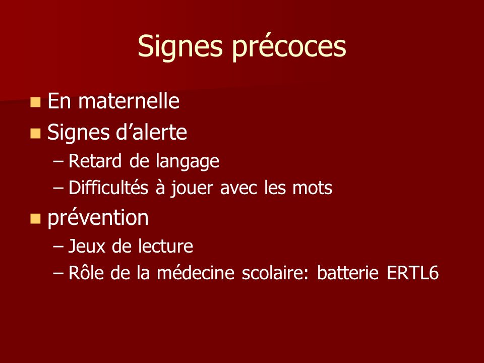 Signes précoces En maternelle Signes d'alerte prévention