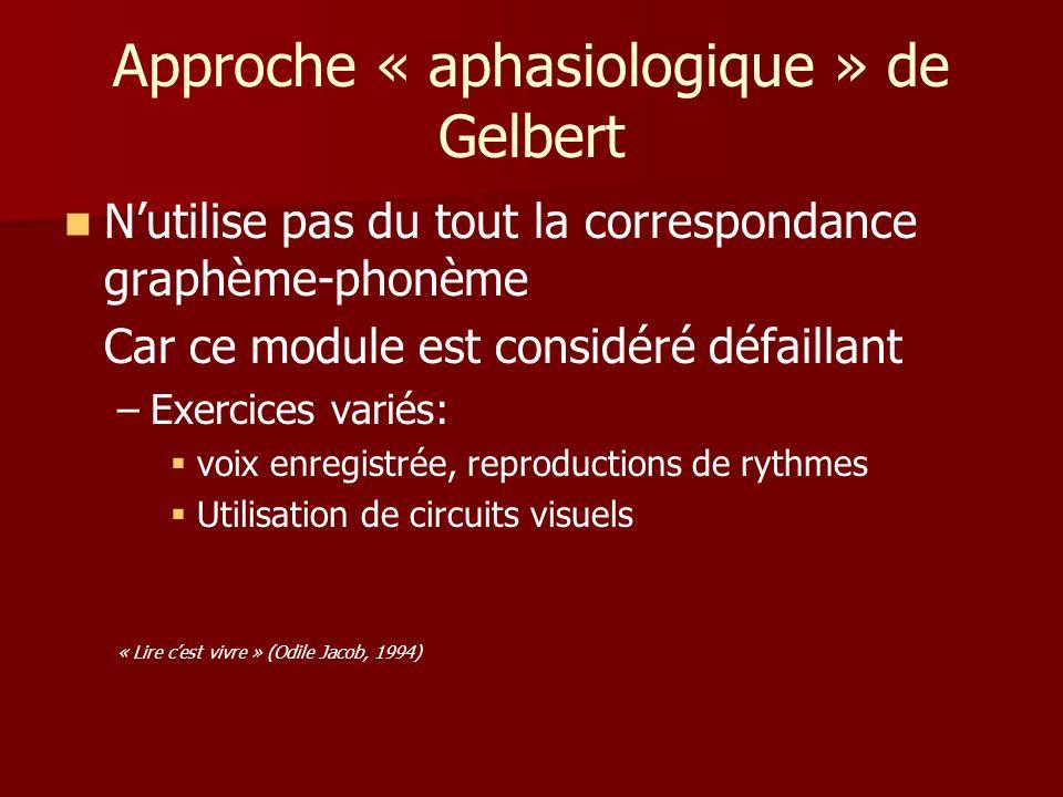 Approche « aphasiologique » de Gelbert