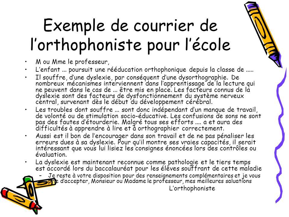 Exemple de courrier de l'orthophoniste pour l'école