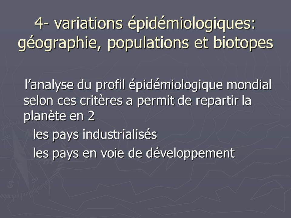 4- variations épidémiologiques: géographie, populations et biotopes