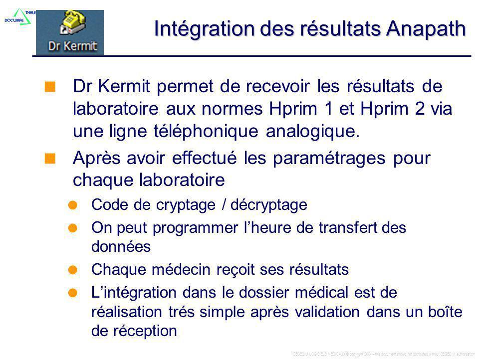 Intégration des résultats Anapath