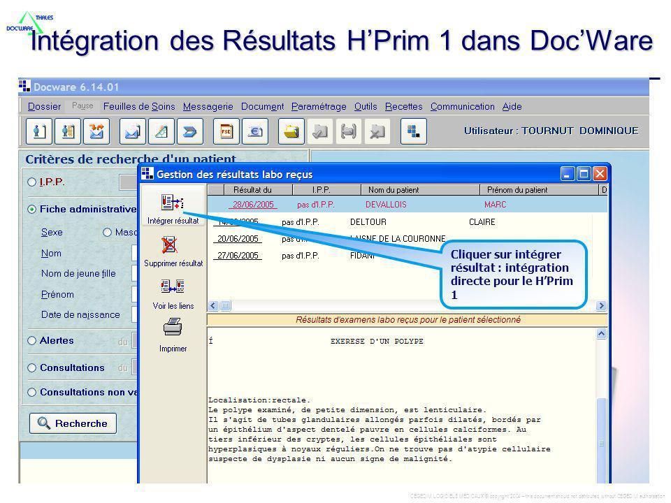 Intégration des Résultats H'Prim 1 dans Doc'Ware