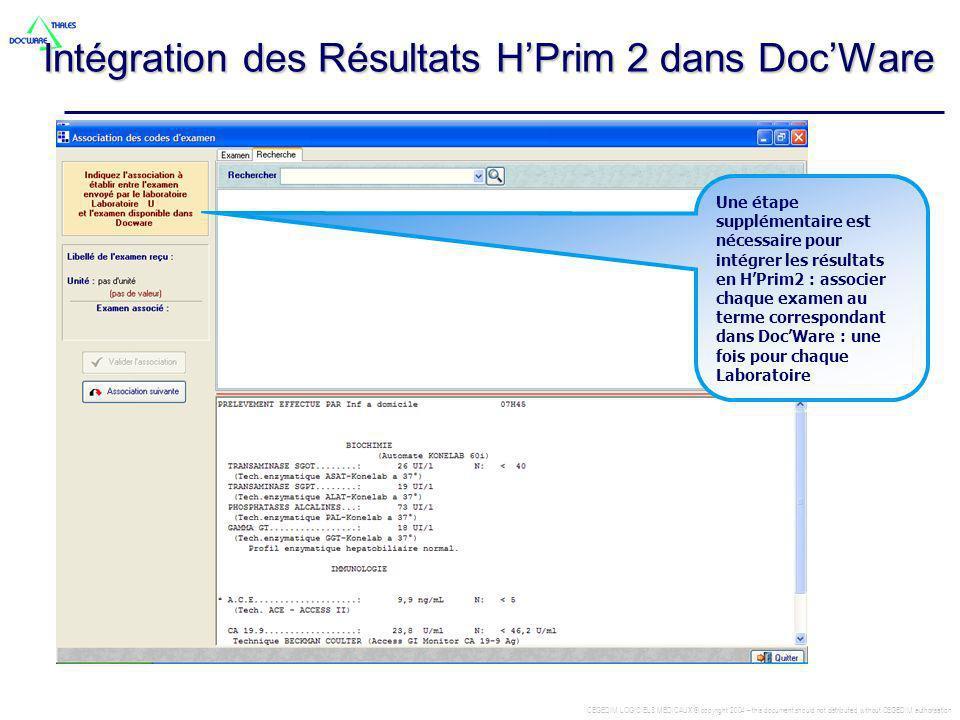 Intégration des Résultats H'Prim 2 dans Doc'Ware